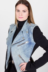 Alexander Wang Denim-Effect Leather Jacket with Removable Sleeves / Fit: XS-S