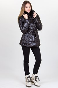 Burberry Brit Black Lightweight Puffer Jacket with Fox Fur / Fit: S