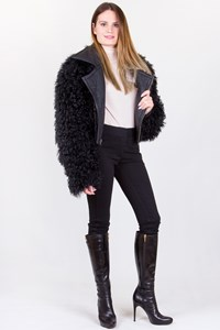Preen Line Shearling Black Jacket with Removable Parts / Fit: XS-S