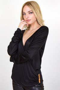 Gucci Black Jersey Blouse with Bamboo Detail / Fit: M