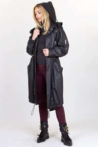 MCQ Black Leather Long Parka Jacket with Removable Hood / Size: 42 IT