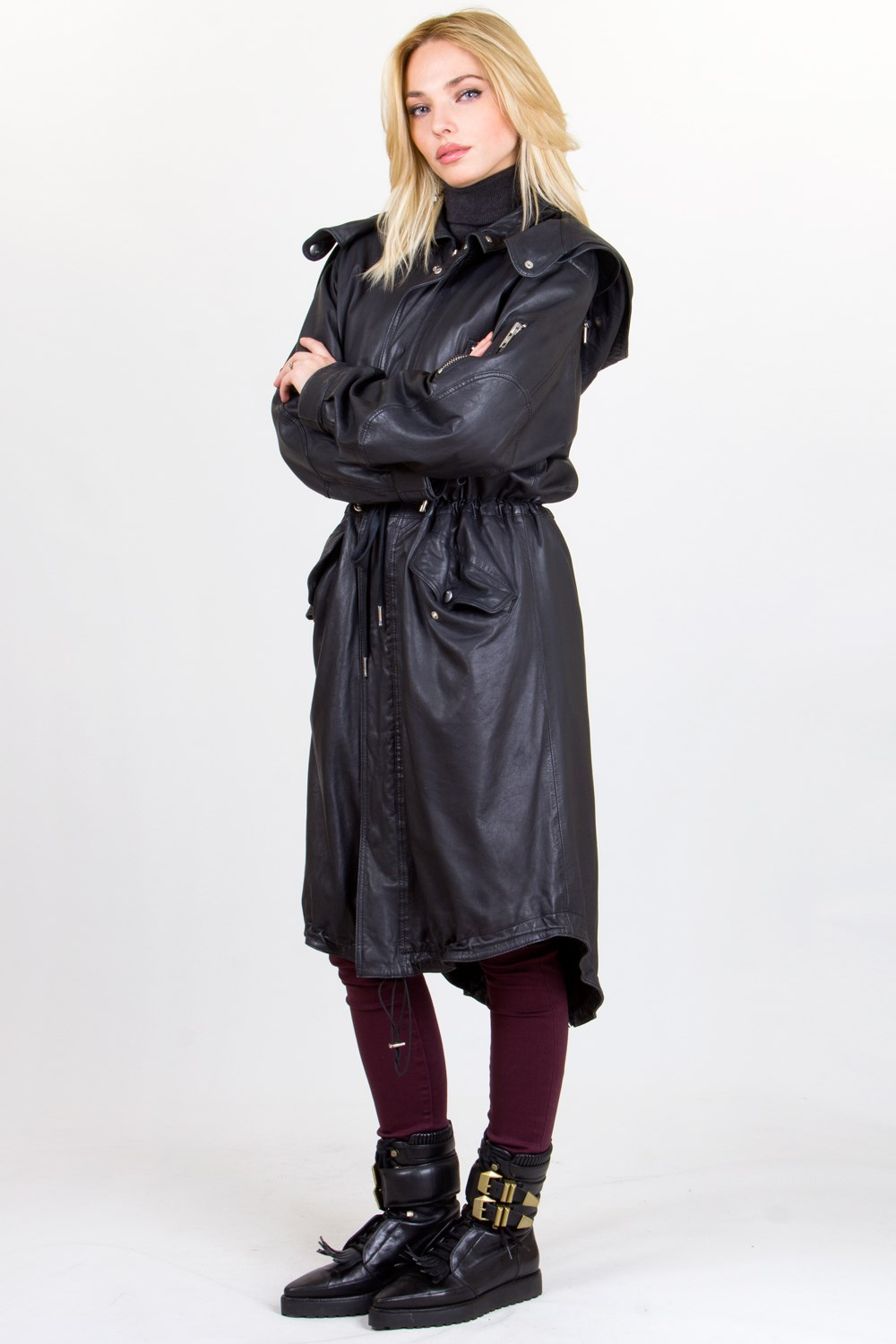Black Leather Long Parka Jacket with Removable Hood / Size: 42 IT ...