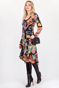 Multicoloured Printed Dress with Silk Trim / Fit: XSmall / Small