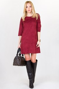 ISO Burgundy Faux Suede Dress / Fit: S / M