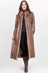 Hettabretz Brown Mohair and Snakeskin Coat