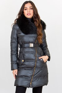 Versace Collection Grey-Green Puffer Jacket with Fox Fur / Size: 40 IT
