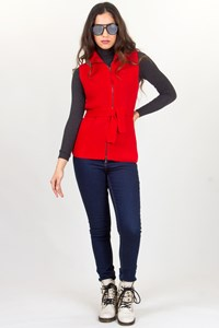 Prada Sport Red Wool Knitted Vest with Belt / Fit: S