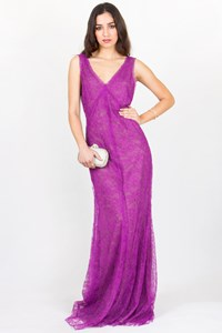 Vera Wang Purple Lace Maxi Dress / Size: 10 US - Fit: Medium