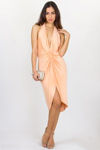 Versace Peach Halterneck Dress