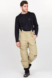 Billabong Beige Ski Pants with Suspenders /  Fit: S - M