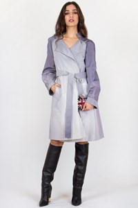 Céline Lilac-Grey-Silver Graduated Light Coat with Belt / Size: 46 FR - Fit: S/M