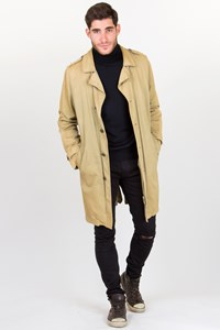 Z Brand Beige Distressed Lightweight Trench / Size: L - Fit: M - L