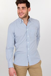 Ermenegildo Zegna Shirt with Light Blue, Blue and Grey Stripes / Size: M - Fit: True to size