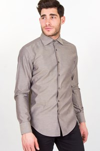 Boss Ash Grey Shirt with Grey Stripes / Size: M - Fit: M