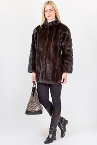 No Brand Double-Sided Jacket with Mink Fur and Leather / Size: S