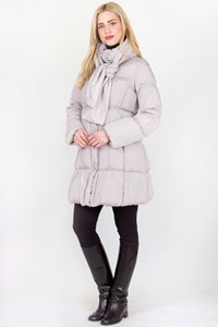 Max+Co Cameo White Quilted Feather Jacket with Scarf / Μέγεθος: 8 US - Εφαρμογή: S / M
