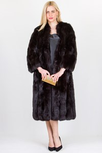 No Brand Black Fox Long Fur Coat / Fit: S