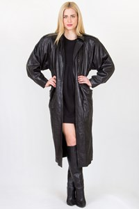 Gianni Versace Black Leather Coat / Fit: XS-S