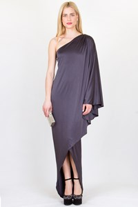 Halston Heritage  Anthracite One-Shoulder Embellished Long Dress
