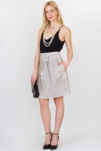 Peter Som Matte Silver Brocade Skirt / Size: 6 US - Fit: S/M