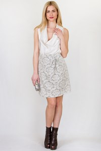 Peter Som Grey and White Brocade Skirt / Size: 4 US - Fit: S