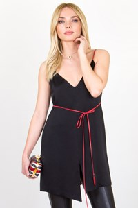 Krizia Black Tunic with Red Leather Straps