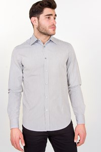 Z Zegna White Shirt with Grey Stripes / Size: M - Fit: M