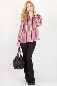 Basler Satin-Like Shirt with Red, Black and White Stripes / Size: 44 FR - Fit: M