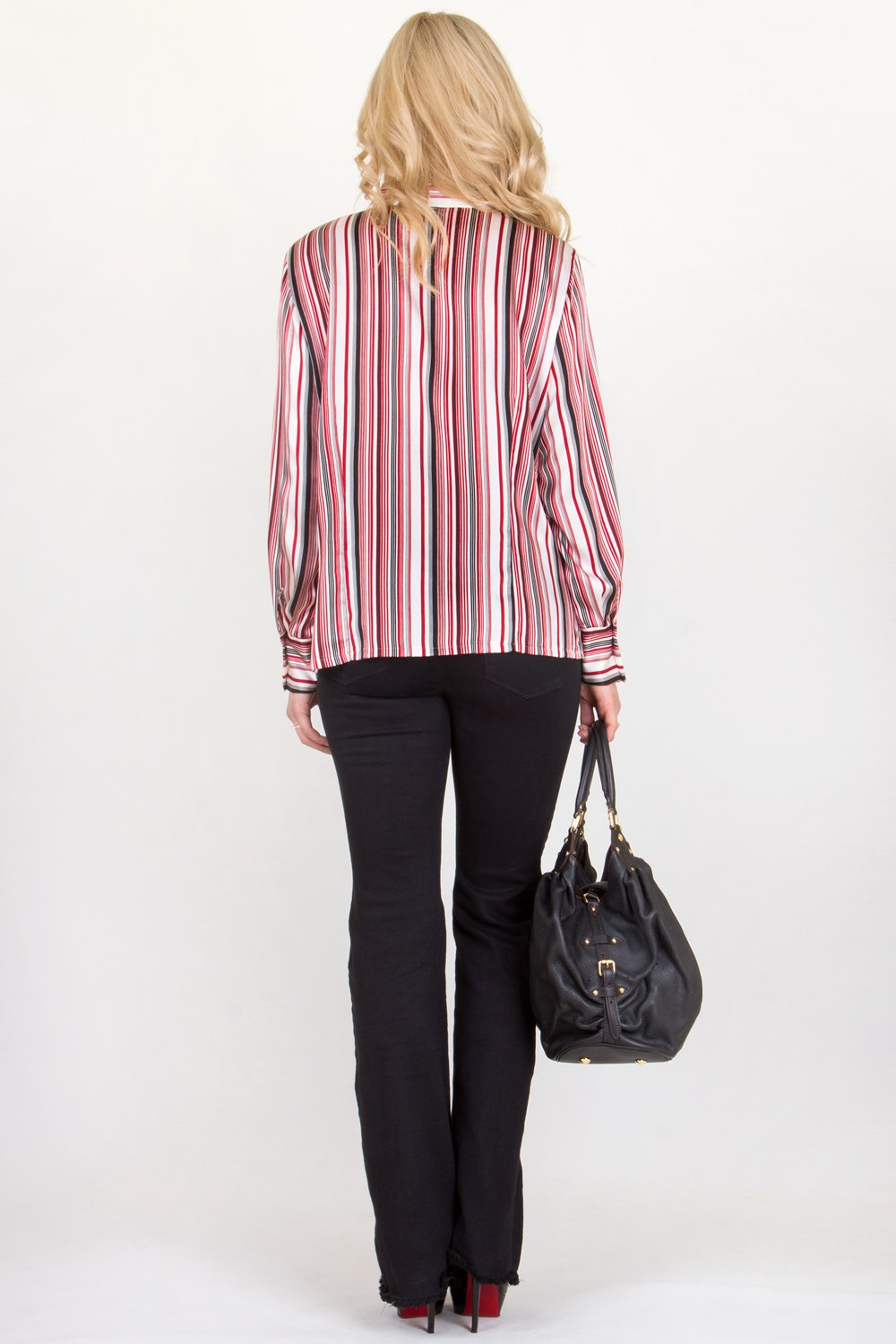 Satin-Like Shirt with Red, Black and White Stripes / Size: 44 FR ...