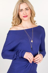 Jasmine di Milo Blue Long-Sleeved Knit Top with Twist