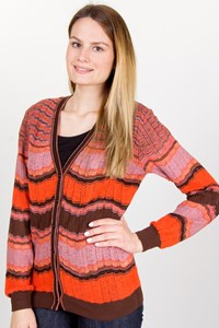 M Missoni Lilac-Orange-Brown Crochet Cardigan / Size: 44 IT - Fit: S