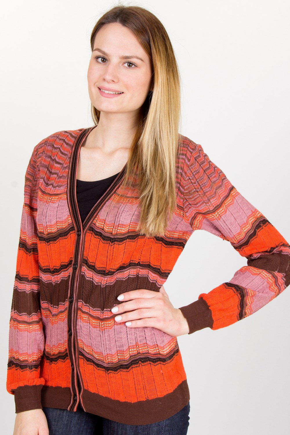 Lilac-Orange-Brown Crochet Cardigan / Size: 44 IT - Fit: S ...