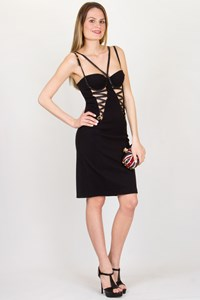Versace Jeans Couture Black Bustier Dress with Cut-Outs / Size: 40 IT - Fit: XS / S