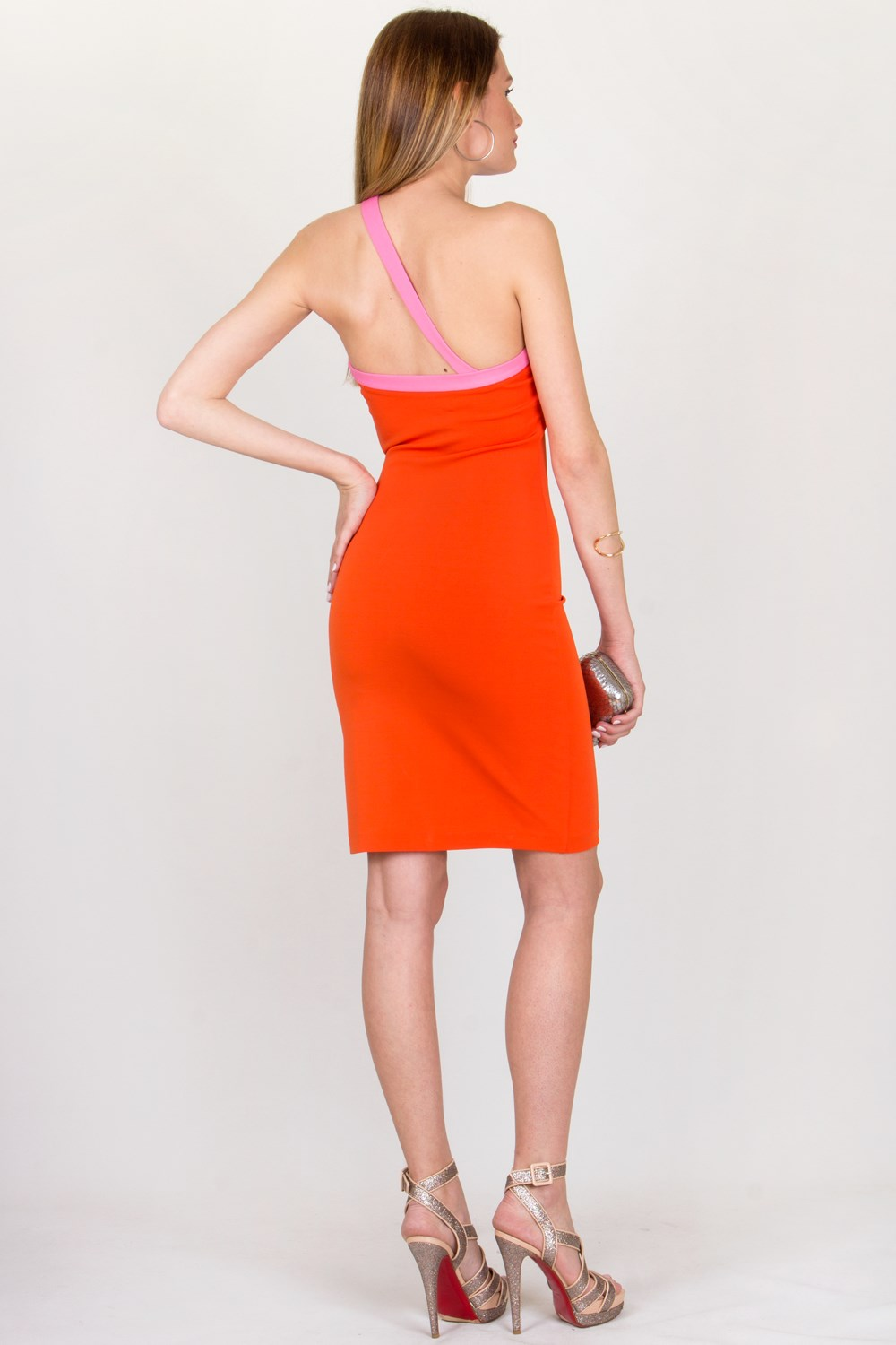 Orange-Pink Bodycon Dress / Size: XS - Fit: True to Size, Evening ...