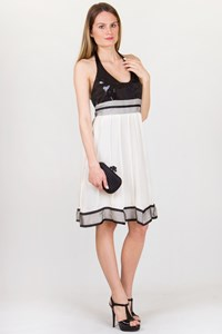 Sagaie Sequined Chiffon Halterneck Dress / Size: T1 - Fit: S