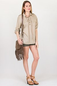MICHAEL Michael Kors Beige Cotton Shirt with Leather Details / Size: M - Fit: S / M