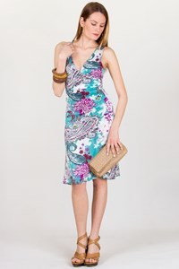 Etro Turquoise Paisley-Print Jersey Dress / Size: 40 IT - Fit: S