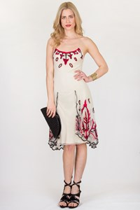 Temperley Ivory Tulle Dress with Black and Red Embroidery