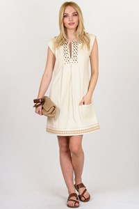 DVF Ecru Cotton Linen Dress with Studs / Size: 4 US - Fit: S
