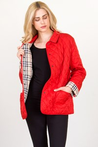 Burberry London Red Quilted Lightweight Jacket / Size: XL - Fit:  L