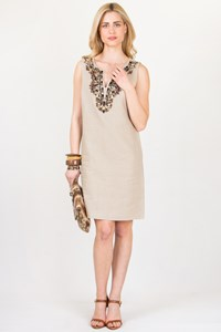 MICHAEL Michael Kors Bead-Embellished Linen Dress / Size: 12 US - Fit: Medium