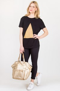 Jasmine di Milo Black Jersey T-shirt with Golden Transparency / Size: 12 UK - Fit: M