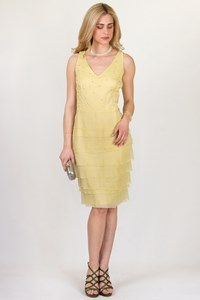Cerruti 1881 Bead and Crystal-Embellished Yellow Silk Dress / Size: ? - Fit: M