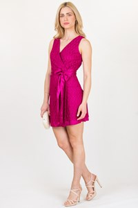 DVF Raspberry Pink Lace Wrap Dress