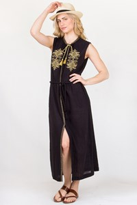 Ancient Kallos Melissa Black Embroidered Cotton Kaftan / Size: M - Fit: S/M