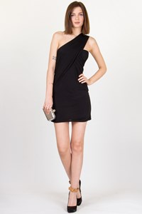 Pinko Black Jersey One-Shoulder Dress / Size: ? - Fit: XS/S