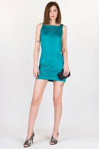 Azzaro Emerald Green Silk Draped Dress / Size: 8 UK- Fit: S