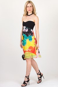 DVF Asti Printed Strapless Dress / Size: 2 US - Fit: XS/S