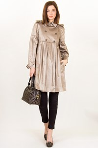 Moschino Beige Satin-like Pleated Trench Coat / Size: 40 IT - Fit: S / M