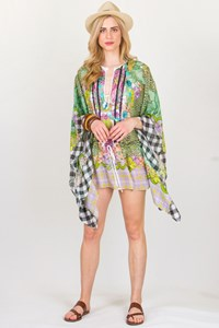 Just Cavalli Multicoloured Silk Printed Kaftan / Size: S - Fit: M